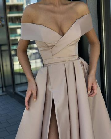 Long Satin V-neck Leg Slit Evening Dress Off Shoulder Prom Dresses, TYP0074