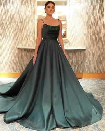 Spaghetti Straps Beaded Neckline Satin Ball Gowns Prom Dresses, TYP0121