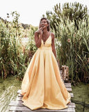Sexy Spaghetti Straps V-neck Long Empire Prom Dresses 2020, TYP0072