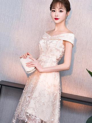 Off-shoulder Lace Princess Dress, Elegant Homcoming Dresses, SEME211