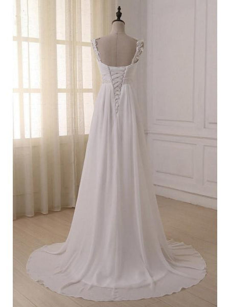 Scalloped Pleats Beaded Chiffon Wedding Dresses with Trailing, Cheap Elegant Wedding Dresses, EME015
