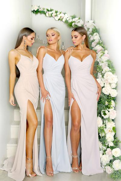 Sexy Spaghetti Strap Sleeveless Mermaid Long Bridesmaid Dresses With Split, TYP0198
