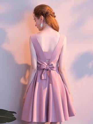 Round-neck Satin Elegant Dress with Bowknot, Pleats Open-back Homcoming Dresses, SEME208