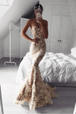 Chic Mermaid Prom Dress Lace Vintage Long Cheap Prom Dresses, TYP0235