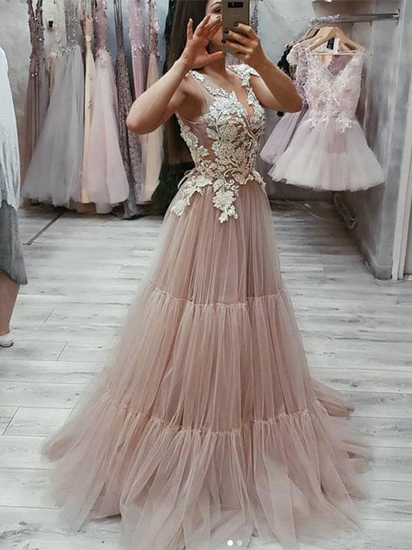 V-neck Lace Appliques Long A-line Tulle Dusty Pink Prom Dresses, PD0377