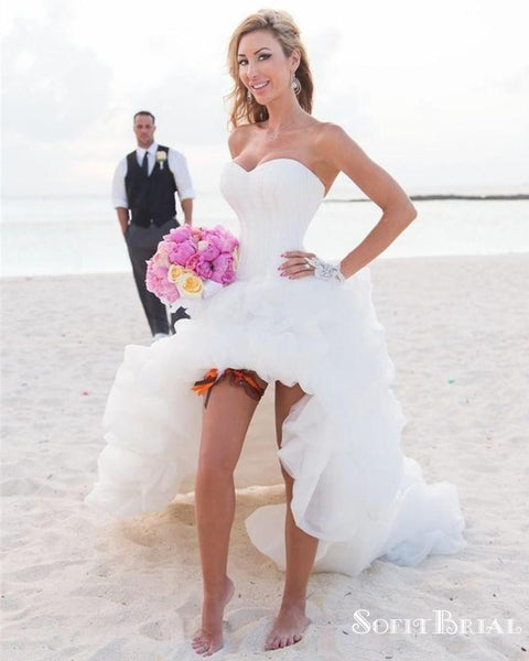 Sweetheart High Low Strapless Bridal Beach  Popular Wedding Dresses, TYP0257