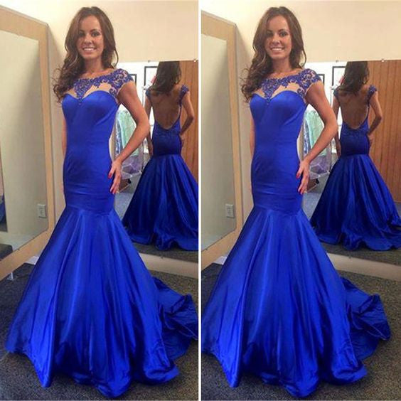 Scoop Neckline Royal Blue Satin Beaded Backless Long Mermaid Prom Dresses, PD0288