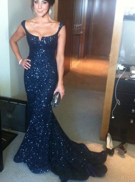 Navy Blue Sequin Long Mermaid Gorgeous Sparkle Elegant Prom Dresses, PD0294