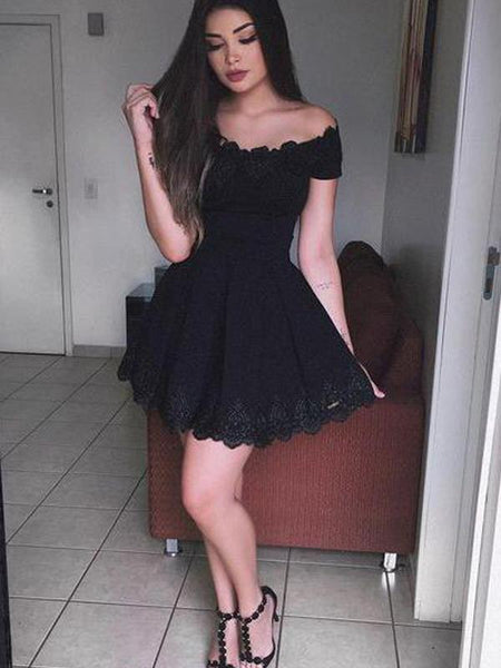 bf1b1519f68 Off Shoulder Black Lace Simple Cheap Short Homecoming Dresses 2018 ...