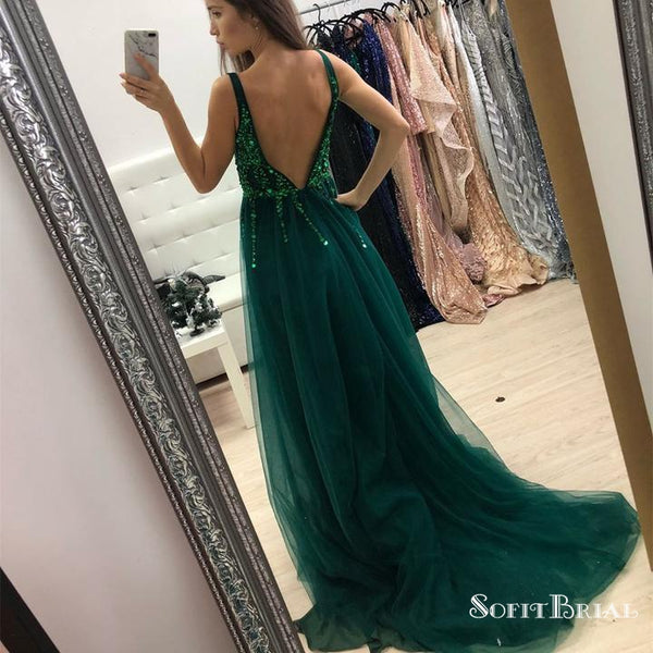 Charming V Neck Green Long Formal Prom Dresses with Slit&Beaded, TYP0110