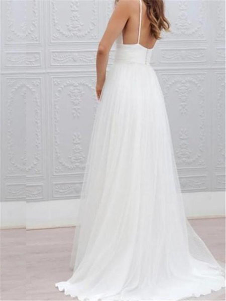 V-neck Spaghetti Pleats Backless Sexy Floor-length Wedding Dresses, WDY0311