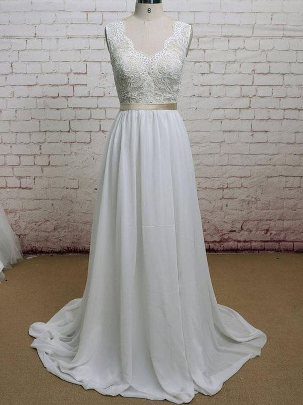 Lace Straps V Neck Cheap Beach Wedding Dresses Online, WD379