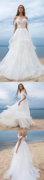Off Shoulder Simple Wedding Dresses, A-line Beach Wedding Dresses, Wedding Dresses, PD0370