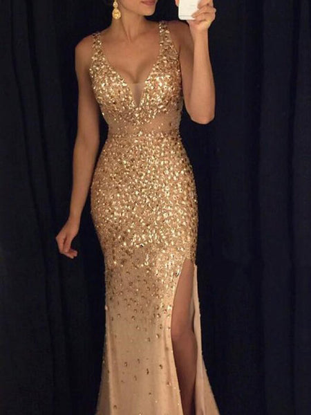 e39c31f0804 Gorgeous Sexy Gold Rhinestone Side Slit Long Prom Dresses