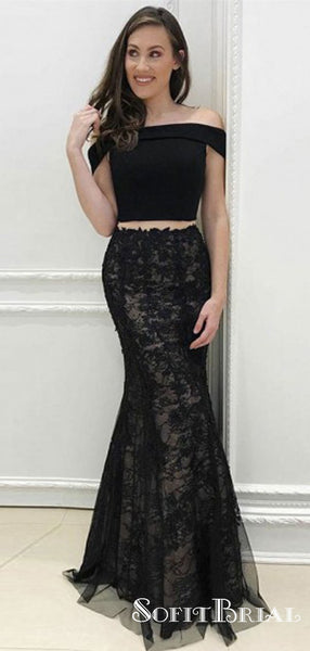 Two Piece Off-Shoulder Long Cheap Black Tulle Prom Dresses with Appliques, TYP0036