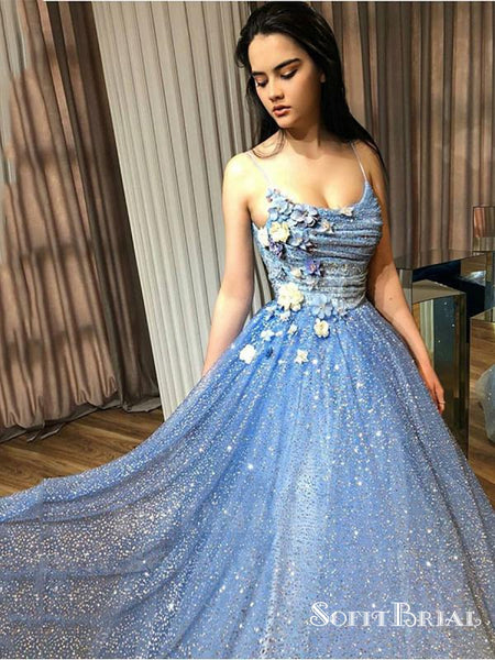 Shiny A-Line Spaghetti Straps Blue Sequined Prom Dresses with Flowers, TYP0167