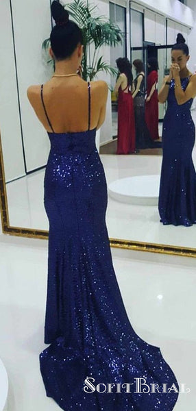 Mermaid Spaghetti Straps Long Royal Blue Sequined Sleeveless Prom Dresses, TYP0073