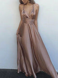 Convertible Satin Sleeveless Long A-line Sexy Prom Dresses, PD0293