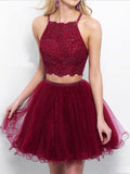 A-line 2-pieces Criss-cross Back Short Dress with Beading, Tulle Sexy Homecoming Dress, EME130
