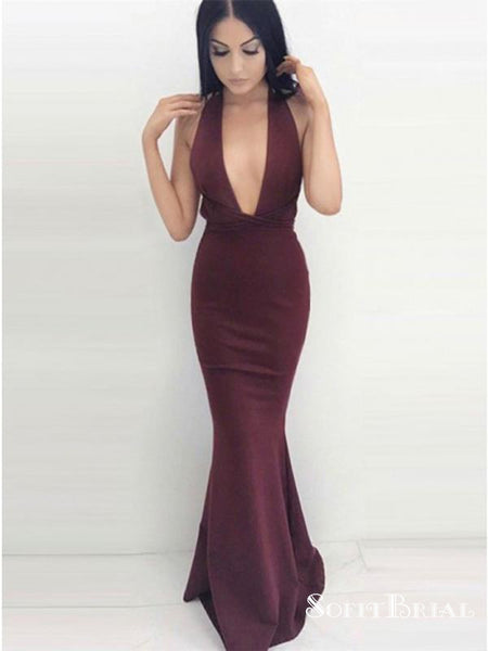 Mermaid V-Neck Criss-Cross Straps Burgundy Jersey Prom Dresses, TYP0100