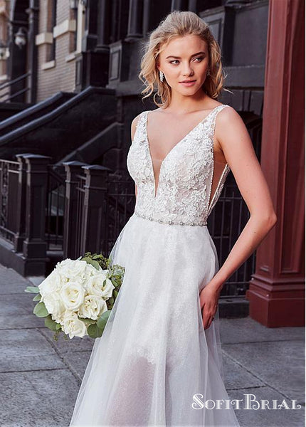 Lovely 2 Pieces Lace Wedding Dresses, Long Wedding Dresses, TYP0254