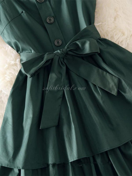 Lovely Square-neck Pleats Satin With Bow Short Homcoming Dresses,SEME206