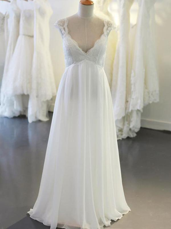 Cap Sleeve V Neck Casual Simple Beach Wedding Dresses, WD326