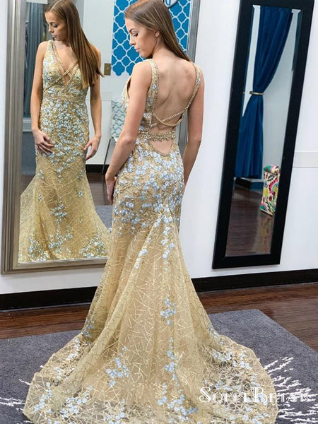Champagne Mermaid Tulle Sequins V-neck Backless Prom Dresses, TYP0184