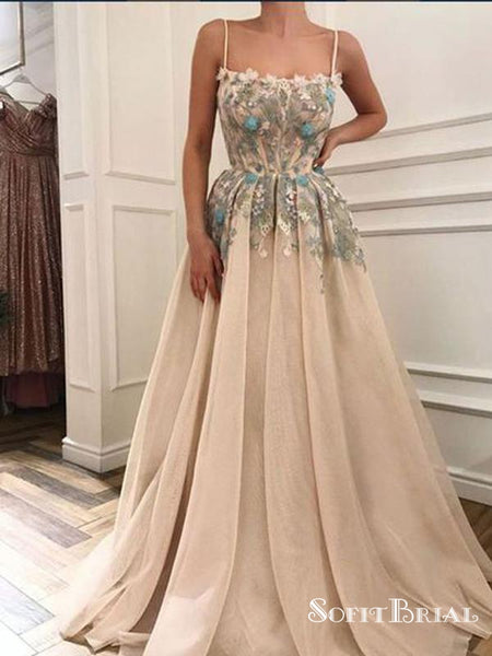 Champagne Spaghetti Strap Long Cheap Tulle Prom Dresses With Applique, TYP0078