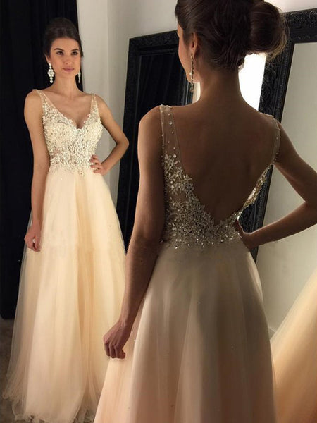 8e697e4017 Newest 2019 V-Neck Appliques Beaded Long A-line Tulle Prom Dresses ...