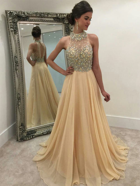 1303195d422 2019 High Neck Rhinestone Open Back Long A-line Prom Dresses