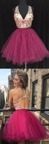 Embroidery V-neck Homecoming Dresses, Plum Tulle Homecoming Dresses, Homecoming Dresses, BD0203