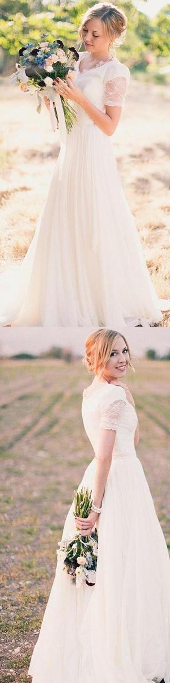 Short Sleeve Lace Chiffon Wedding Dresses, Country Wedding Dresses ...