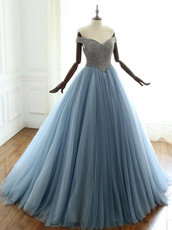 Off Shoulder Beaded Dusty Blue Ball Gown, Long Prom Dresses, PD0376