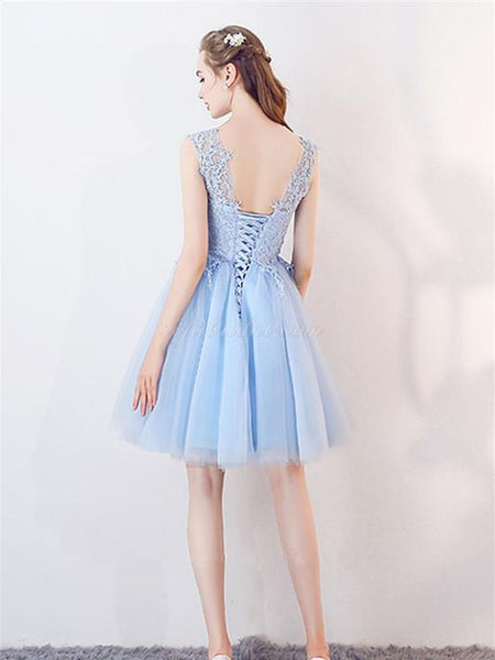 Illusion A-line Lace Top Tulle Hem Homecoming Dresses, Short Light Blue Dress SEME242