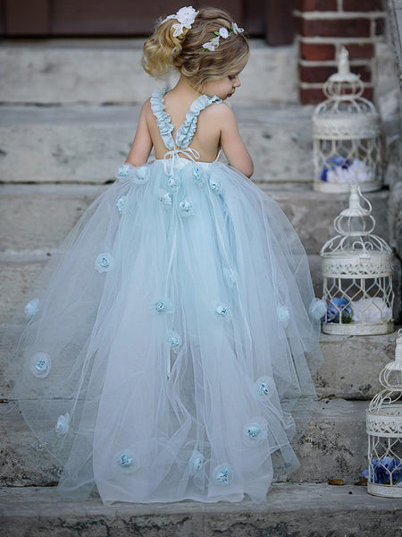 Lovely Square-neck with Ruffles And Bow Criss-cross Back Tulle Ball Gown with Handmake Flower, Pegeant/Wedding Flower Girl Dresses , SEME125