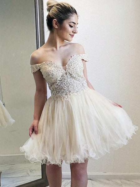 Off-shoulder Lace Top Tulle Hem Homecoming Dresses, Short Ball Dress SEME241