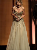 Taylor Swift Celebrity Inspired Sweetheart Gold Sequin Tulle Long Prom Dresses, PD0272