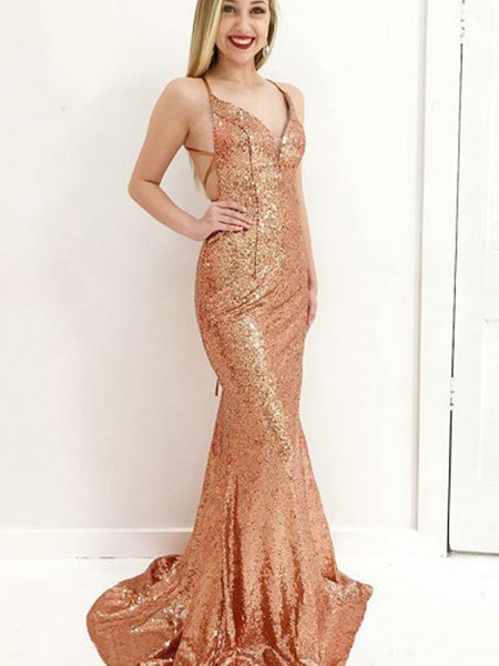 Mermaid Deep V-Neck Long Gold Sequined Criss-Cross Straps Prom Dresses, TYP0028