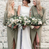 Sheath V-Neck Split Long Chiffon Green Bridesmaid Dresses with Long Sleeves, TYP0250