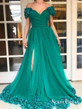 Dramatic Off Shoulder Split Turquoise Prom Dresses with Train Appliques, TYP0225