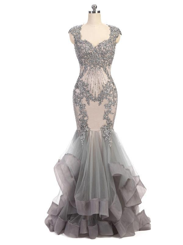 Grey Cap Sleeves Lace Beaded Long Mermaid Prom Dresses, PD0385