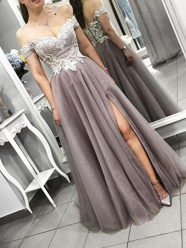 Off Shoulder Long A-line Side Slit Lace Prom Dresses, PD0373