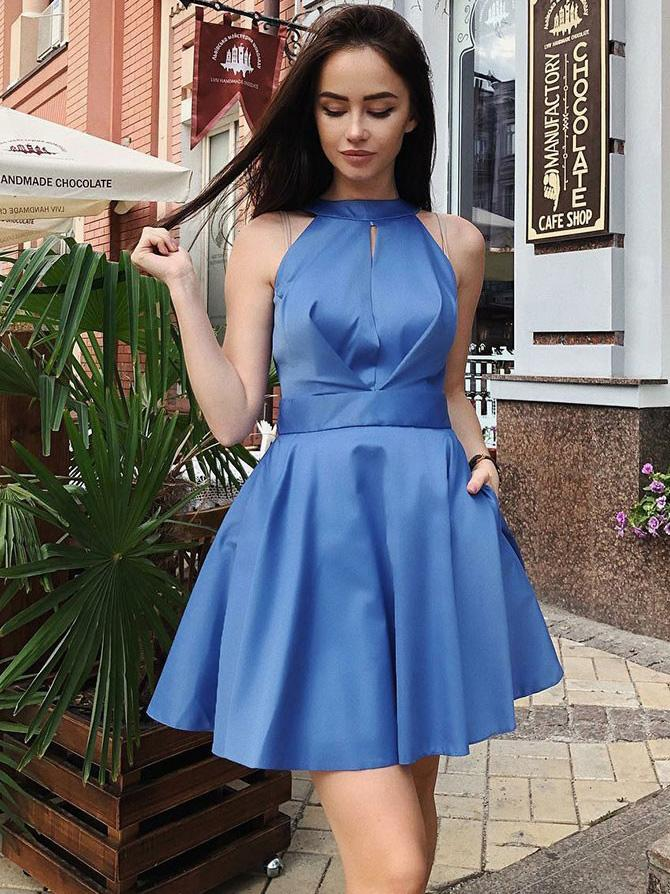 Blue Satin Homecoming Dresses, Cheap Homecoming Dresses, Cute Homecoming Dresses, CM602