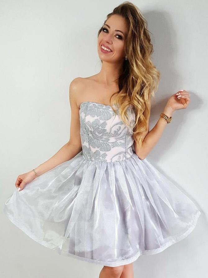 Silver Organza Homecoming Dresses, Newest Homecoming Dresses, Homecoming Dresses, CM603