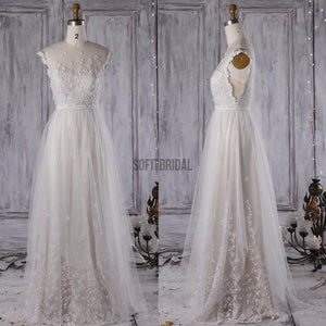 Long A-line Appliques Illusion Open Back Tulle Wedding Dresses, WD0091