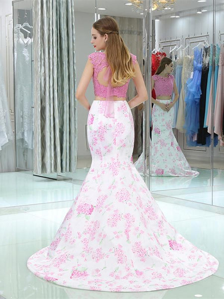Two pieces Jewel Pink Crop Top Applique Open Back Mermaid Hem Prom Dress, EME053