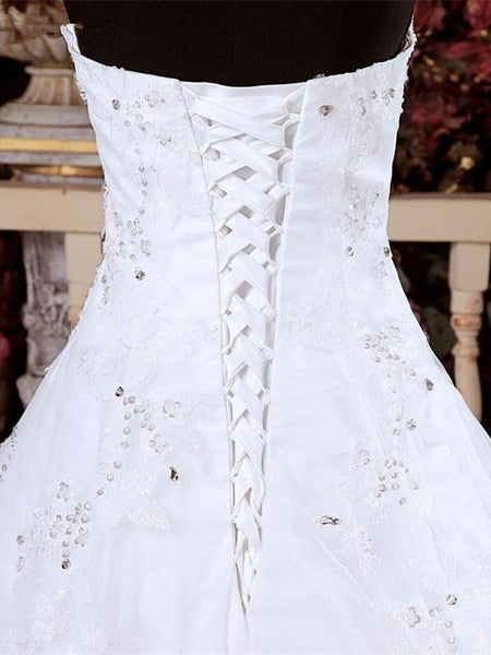 Sweetheart Sequin Lace-up Ball Gown Princess Style Elegant Wedding Dresses, WDY0317