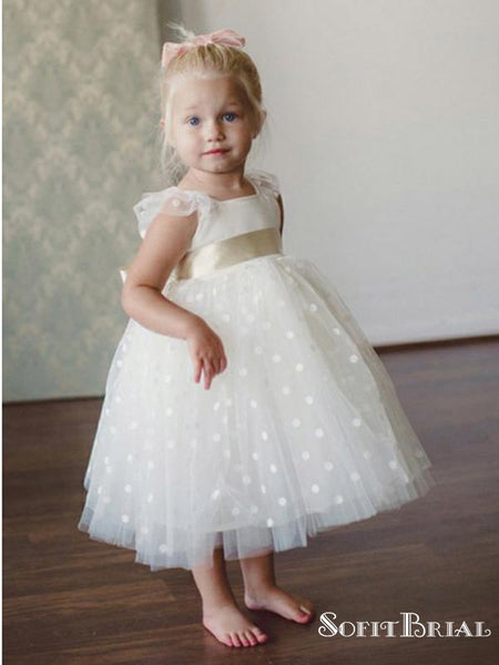 A-Line Square Neck Sleeveless White Ankle Length Flower Girl Dresses, TYP0269