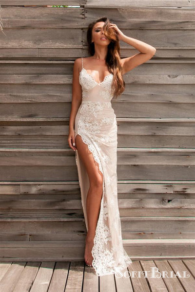 Sexy Spaghetti Straps Long Backless Side Slit Appliques Prom Dresses, TYP0094